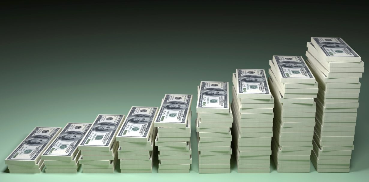 Money stack with black blank space for text